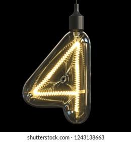 Light bulb 3d font 3d rendering number 4