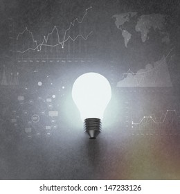 light bulb 3d on business strategy background as vintage style concept