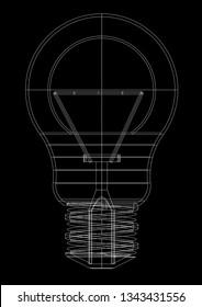 light bulb Architect blueprint  3D renderings