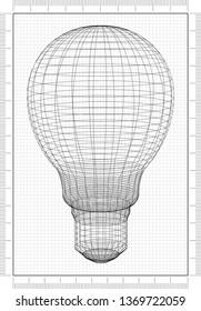 Light Bulb Architect Blueprint - 3D Renderings