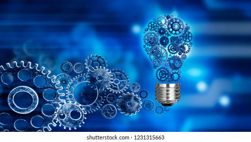 light bulb build out of cogs Innovation with ideas and concepts,Training,business background blue