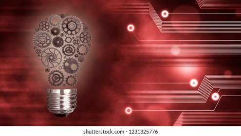 Light Bulb build out of cogs Innovation with ideas and concepts,Training,business background