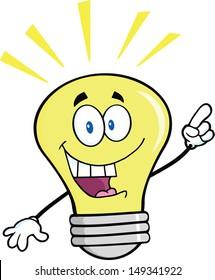 Light Bulb Cartoon Mascot Character With A Bright Idea.