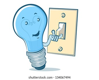 Light Bulb Character Flipping a Switch