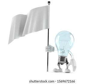 Light bulb character holding blank flag isolated on white background. 3d illustration