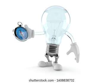 Light bulb character holding compass isolated on white background. 3d illustration