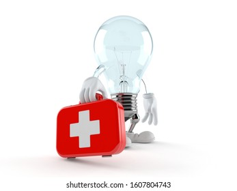 Light bulb character holding first aid kit isolated on white background. 3d illustration