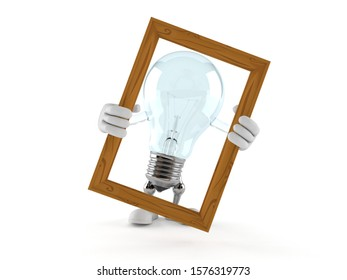Light bulb character holding picture frame isolated on white background. 3d illustration