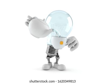 Light bulb character holding tea cup isolated on white background. 3d illustration