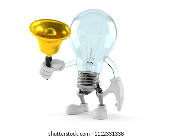 Light bulb character ringing a hand bell isolated on white background. 3d illustration