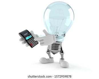 Light bulb character using calculator isolated on white background. 3d illustration