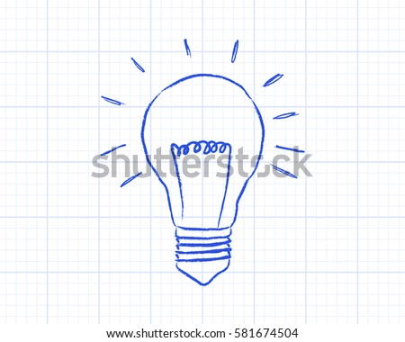 light bulb drawing on graph paper stock illustration 581674504