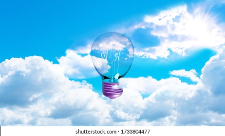 Light bulb with filaments and purple socket in the cloudy sky. 3d rendering