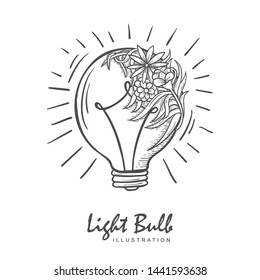 light bulb with flower illustration