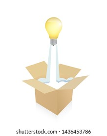 light bulb flying from a cartboard box. isolated over a white background