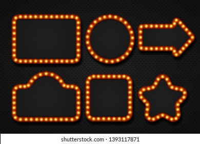 Light bulb frame. Makeup mirror marquee circus signboard cinema casino theater billboard lump border. 3D light frames