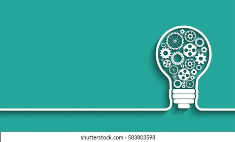 light bulb with gears and cogs working together. background for your design