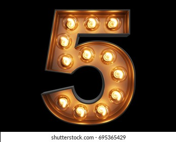 Light bulb glowing digit alphabet character 5 five font. Front view illuminated number 1 symbol on black background. 3d rendering illustration