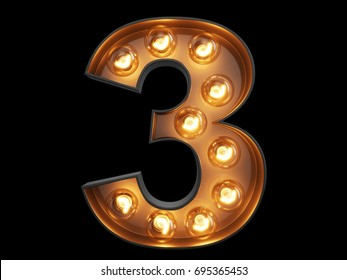 Light bulb glowing digit alphabet character 3 three font. Front view illuminated number 1 symbol on black background. 3d rendering illustration