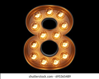 Light bulb glowing digit alphabet character 8 eight font. Front view illuminated number 8 symbol on black background. 3d rendering illustration