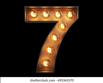 Light bulb glowing digit alphabet character 7 seven font. Front view illuminated number 7 symbol on black background. 3d rendering illustration