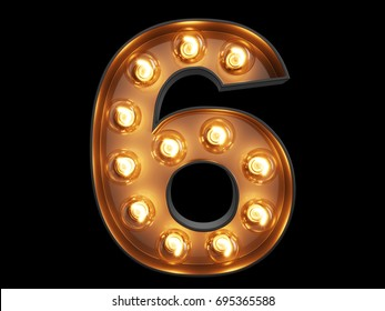 Light bulb glowing digit alphabet character 6 six font. Front view illuminated number 6 symbol on black background. 3d rendering illustration