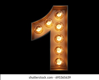 Light bulb glowing digit alphabet character 1 one font. Front view illuminated number 1 symbol on black background. 3d rendering illustration