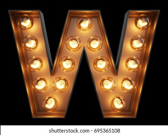 Light bulb glowing letter alphabet character W font. Front view illuminated capital symbol on black background. 3d rendering illustration