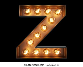 Light bulb glowing letter alphabet character Z font. Front view illuminated capital symbol on black background. 3d rendering illustration