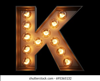 Light bulb glowing letter alphabet character K font. Front view illuminated capital symbol on black background. 3d rendering illustration