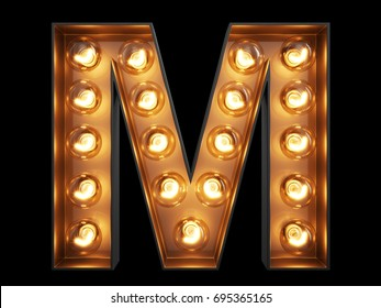 Light bulb glowing letter alphabet character M font. Front view illuminated capital symbol on black background. 3d rendering illustration