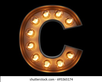 Light bulb glowing letter alphabet character C font. Front view illuminated capital symbol on black background. 3d rendering illustration