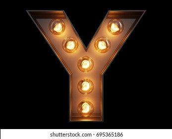 Light bulb glowing letter alphabet character Y font. Front view illuminated capital symbol on black background. 3d rendering illustration