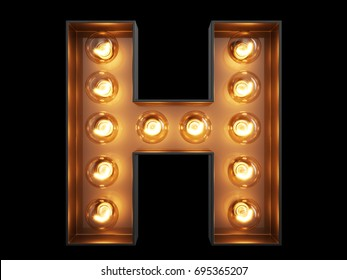 Light bulb glowing letter alphabet character H font. Front view illuminated capital symbol on black background. 3d rendering illustration