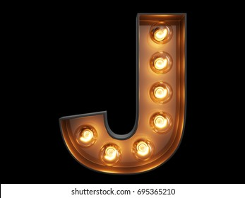 Light bulb glowing letter alphabet character J font. Front view illuminated capital symbol on black background. 3d rendering illustration