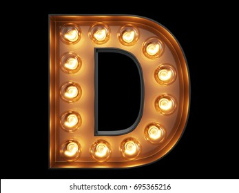 Light bulb glowing letter alphabet character D font. Front view illuminated capital symbol on black background. 3d rendering illustration