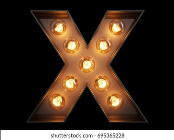 Light bulb glowing letter alphabet character X font. Front view illuminated capital symbol on black background. 3d rendering illustration