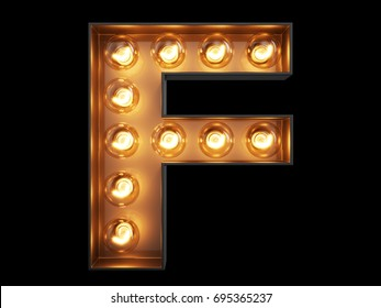 Light bulb glowing letter alphabet character F font. Front view illuminated capital symbol on black background. 3d rendering illustration