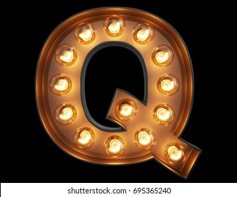 Light bulb glowing letter alphabet character Q font. Front view illuminated capital symbol on black background. 3d rendering illustration