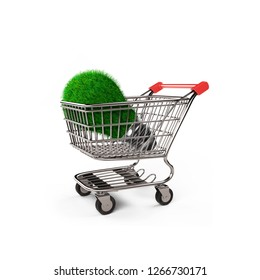 Light bulb with green grass on shopping cart, concept of ECO and green energy, isolated on white background, 3D illustration.