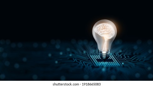Light bulb with human brain inside glowing on the converging point of circuit. Creative and innovation inspiration. Business and Technology idea concept. 3D Rendering and Copy space.