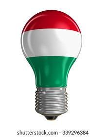 Light bulb with Hungarian flag (clipping path included)