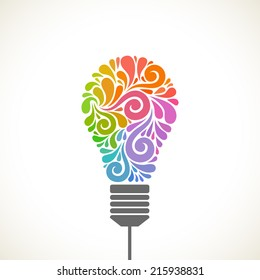 Light bulb icon with concept of idea. Color original sign of creativity. Illustration for print, web