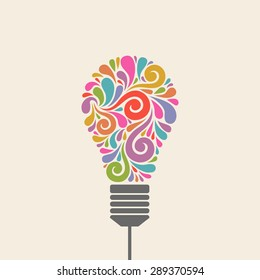 Light bulb icon with concept of idea. Logo design template. Color original sign of creativity. Illustration for print, web