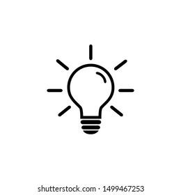 Light Bulb icon on white. illustration