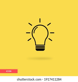 Light bulb icon with yellow background. Signs of ideas, solutions, thinking concepts