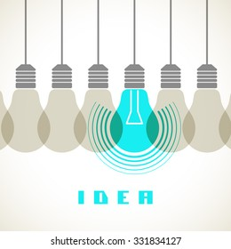 Light bulb icons with concept of idea. Color original sign of co-creativity. Illustration for print, web