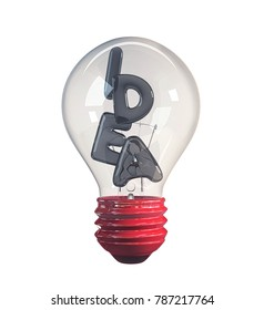 Light bulb with IDEA made from balloons in it. concept of process. 3d Rendering isolated on white