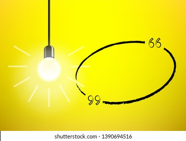 Light bulb and idea oval quote on yellow background. Creative speech or message concept template