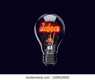 Light bulb illuminates with word idea. Brand Concept. 3d render